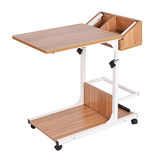 sogesfurniture Height Adjustable Sofa Side Table C Table Laptop Holder End Stand Desk Coffee Tray Side Table,Oak,BHUS-103#2-OK