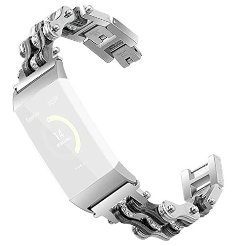 IOTdou Stainless Steel Double Row Bicycle Chain Metal Watch Band for Fitbit Charge 3 Durable Watch Strap