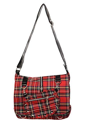 Banned Apparel Red Tartan Plaid Print Punk Messenger Cross Body Handbag Purse