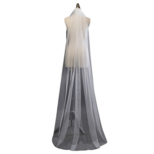 SABridal Cut Edge Tulle Comb Wedding Veils Chapel Length 1 Tier Long Bride Veil