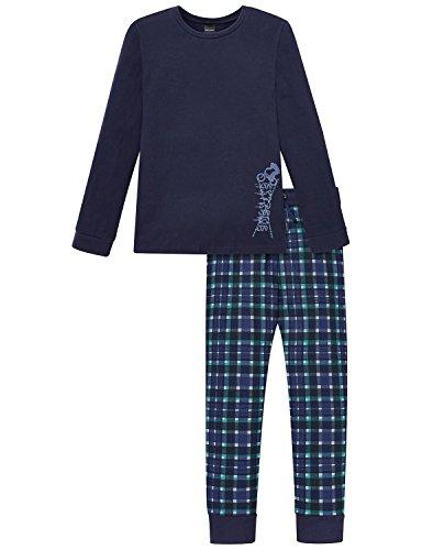 Schiesser Jungen Zweiteiliger Schlafanzug Anzug Lang, Blau (Nachtblau 804), 164