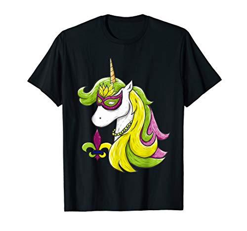 Mardi Gras Mask Unicorn Fat Tuesday Women Costumes T-Shirt