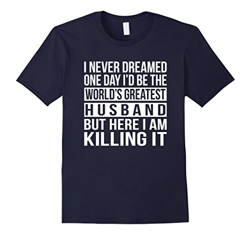 Mens World's Greatest Husband T-shirt Funny Gift For Hubby Large Navy (Greatest Funny Graphic Worlds)