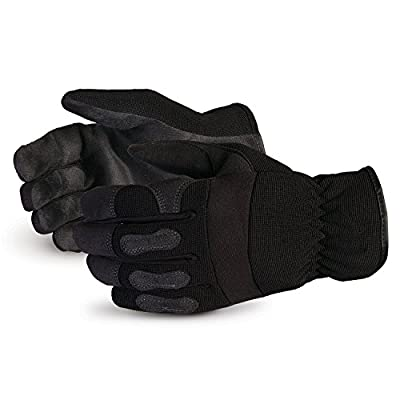 Superior Winter Work Gloves - Black Synthetic Leather with Neoprene for Comfort and Safety (378PLFL) - Size Medium