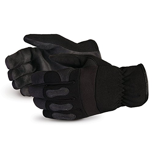 Gloves - Black Synthetic Leather with Neoprene for Comfort and Safety (378PLFL) – Size Medium ()