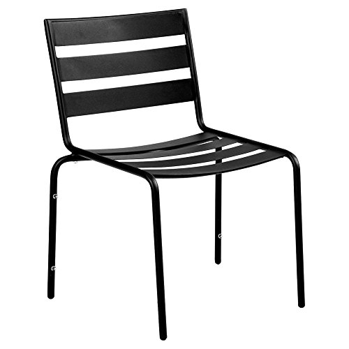 Woodard Metro Stackable Dining Side Chair in Textured Black-Set of 4