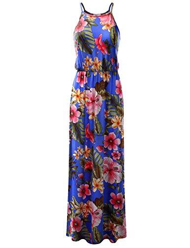 CLOVERY Women's Maxi Dresse Crew Neck Sleeveless Summer Floral Maxi Dress TROPICALROYAL XL Plus Size ()