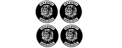4 Stickers Sons of Arthritis Anarchy Ibuprofen Chapter Oldschool Vintage Biker Sticker Decal Pegatinas Aufkleber/Plus Coconut Shell Keychain Ring/Chopper Outlaw 1% MC Car Truck Bumper Bike ()