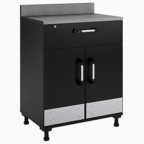 Garage Base Cabinet Utility Storage Cabinet with 2 Doors and a Drawer Ample Work Space Grey Color Heavy Duty 2 Shelves Locking Safe Storage Box & eBook by (Heavy Duty Base Utility Cabinet)