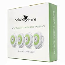 Replacement Brush Head for Acne Skin Cleaning. For Sensitive, Acne Prone Skin Types.Compatible with Clarisonic MIA, MIA 2, ARIA, PRO and PLUS Facial Cleansers. (4-Pack Acne Brush Head)