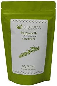 100% Pure and Organic Biokoma Mugwort Dried Herb 50g (1.76oz) in Resealable Moisture Proof Pouch