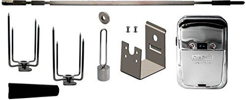 - OneGrill Weber Fit Stainless Steel Complete Grill Rotisserie Kit W/Chrome Cordless Motor (Fits: 200 Series 2 Burner Weber Genesis II E-210, LX E-240, LX S-240 & Spirit/Spirit II: E-210, S-210)
