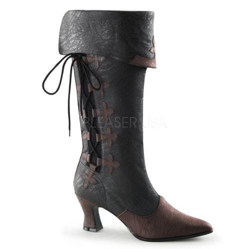 Funtasma Women's Victorian-128 Boot, Black/Brown Distressed Polyurethane, 11