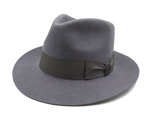 Fedora Wool-Felt Hat Classic Manhattan Mens Indiana Jones Hats Gangster Stain Unisex(Grey) (Grey Fedora Hat)