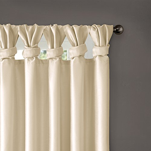 Madison Park Emilia Room-Darkening Curtain DIY Twist Tab Window Panel Black-Out Drapes for Bedroom and Dorm, 50x84, Champagne