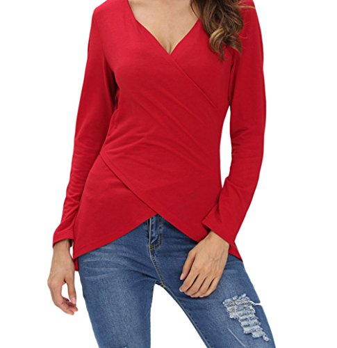yeeatz-v-neck-asymmetrical-long-sleeve-pure-color-t-shirtredl
