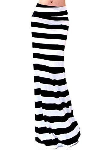 Vivicastle Women's Asymmetric Striped Fold Over Waist Long Maxi Skirt (Large, G2, Multi) - Skirt Waist Over Fold