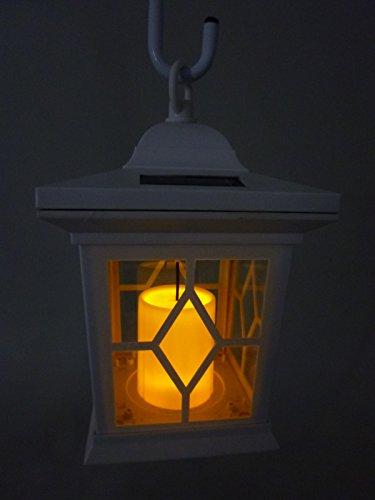LED Solar-Laterne Romantica weiß mit Kerzen-Flackerlicht Solarleuchte Dekolampe