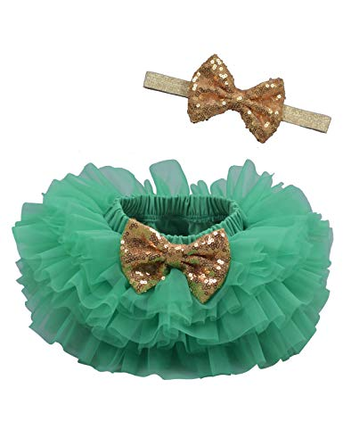 Baby Girls Tutu Bloomers Diaper Cover Cotton Tulle Bloomers and Headband Set Green 0-6 Month ()