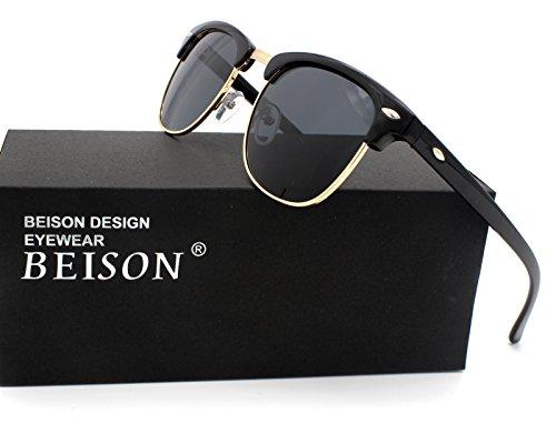 Beison Retro Polarized Sunglasses Womens Mens Driving Glasses (Shiny black / Grey lens, - Glasses Shuron
