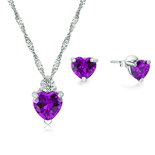 925 Sterling Silver Purple Heart Crystal Pendant Necklace Stud Earrings Set for (Earring Pendant Gift)