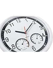 Wall Clock with Thermometer and Hygrometer Silent Clock for Indoor Outdoor Pool Patio