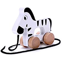 Adorable Zebra Wooden Push & Pull Along Toy for Baby & Toddler - Rolls Easy, Sturdy String Attached to Animal | Classic Developmental Toy for 1 & 2 Year Old Boys & Girls
