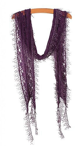 Girl Must-Have Decorative Lace Neck Basic Scarf Deep Purple ()