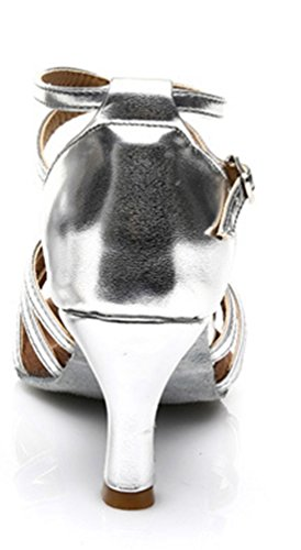 Tda Donna Moda Metà Tacco Nodo Raso Salsa Tango Samba Latino Scarpe 7,5 Centimetri Argento