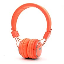 GranVela Q8 Lightweight Foldable Wireless Bluetooth On-Ear Headphones with Microphone, Micro SD Card Player, FM Radio and 3.5mm Detachable Cable Stereo Headset - Orange
