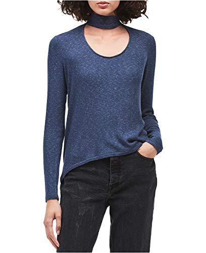 Calvin Klein Jeans Women's Long Sleeve Rib Choker Neck Top, Inky Blue Heather, Small ()