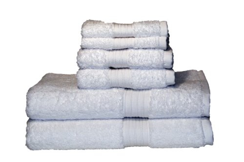 Majestic Egyptian Cotton Bath Towel Set (Baltic Linen Egyptian Majestic 6-Piece Heavy Weight Cotton Towel Set, White)