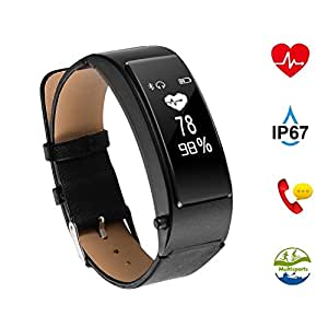 The perseids Fitness Wristband Activity Tracker - Black (Built-in GPS,Sleep monitor, Smart Pedometer, Calorie Counter or Call / SMS Reminder) with USB Charging for Android & IOS