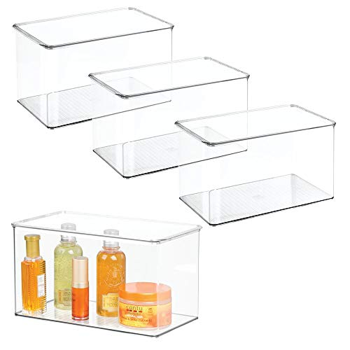 (mDesign Stackable Bathroom Storage Bin Box with Lid - Container for Organizing Hand Soaps, Body Wash, Shampoos, Conditioners, Hand Towels, Hair Accessories, Body Spray - 7
