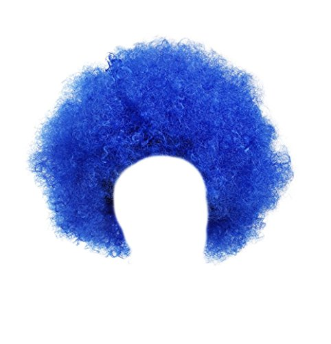 Gorse Halloween Costume Wig Cosplay Afro Clown Wig Party Funky Style for Men and Women (Blue)]()