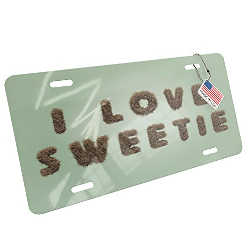 NEONBLOND I Love Sweetie Furry Teddy Bear Letters Aluminum License Plate ()
