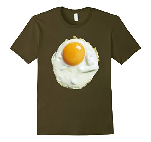 [Men's Fried Egg Funny Costume Halloween T-Shirt - Unisex 2XL Olive] (Realistic Fried Egg Adult Unisex Costumes)