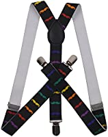 ORSKY Mens Suspenders with Clips Pant Suspenders Leather Suspenders for Men