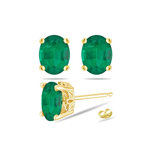 - 0.38-0.55 Cts of 5x3 mm AA Oval Natural Emerald Scroll Stud Earrings in 18K Yellow Gold