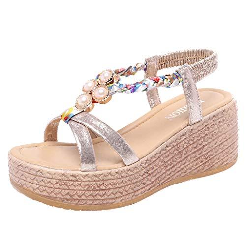 Kauneus Women's Bohemian Platform Sandals Rhinestone Bead Wedge Shoes Thong Sandal Gold