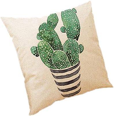 Wicemoon. Simple Decorativo Funda de Cojín Cactus Algodón Lino del ...