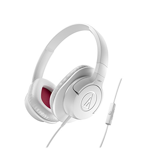 Audio-Technica ATH-AX1iSWH SonicFuel Over-Ear Headphones for Smartphones, White