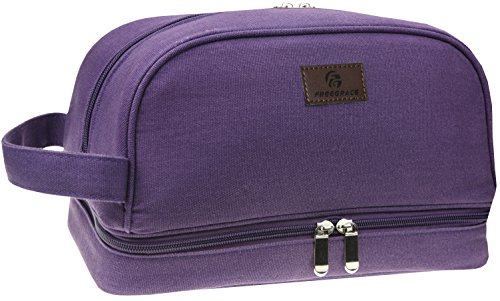 Canvas Toiletry Bag - Large Dopp Kit For Men & Women - The Perfect Travel Essentials Organizer - Ideal For Cosmetics, Personal Items, Shaving Sets, Shampoo, Body Wash (Purple)