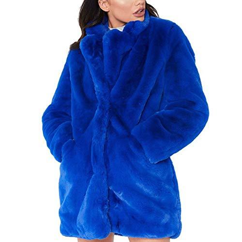 Fausse Oversize Manteau Pull Cardigan Hiver Fourrure Chaud avec Poches Casual Lache Blue EFINNY Femmes Automne Long 57xqfwwP