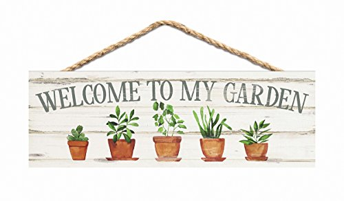 e to My Garden Plants Whitewash 10 x 3.5 Inch Pine Wood Slat Hanging Wall Sign (Dads Garden Sign)