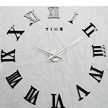 Time Letters Roman Numerals Large Size Modern DIY Frameless 3D Big Mirror Surface Wall Clock Oversized Clock Removable Home Decoration Living Room Décor Wall Sticker Meeting Room Watches Decor (Black) (Sale Oversized Clock Wall)
