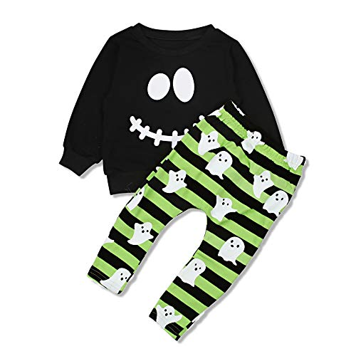 AR-LLOYD Cute Halloween Clothes Baby Boys Long Sleeve Smiley Face Hoodie Tops +Stripe Pants Outfit Sets (Green, 120/4-5y) ()