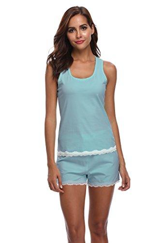 - Luvrobes Women's Lace Trim 2-Piece Cotton Short Pajama Set (SkyBlue, Medium)