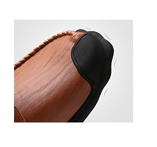 Nastro Pelle Colore Casual Punta Stivali Morbido A Affari in Brown Tela Stagione Tondo Scarpe Sportivi Sandali Uomo PxzwE
