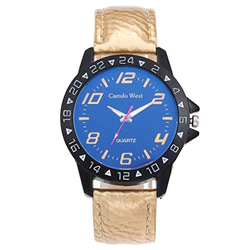 Mens Watches Leather Strap Amazon Choice,Fitness Watches for Women,Rotary Watch Ladies,Fashion Luxury Quartz Watch Blue Glass Dial Casual Leather Belt Woman's Watch (Mens Tonneau Blue Leather)
